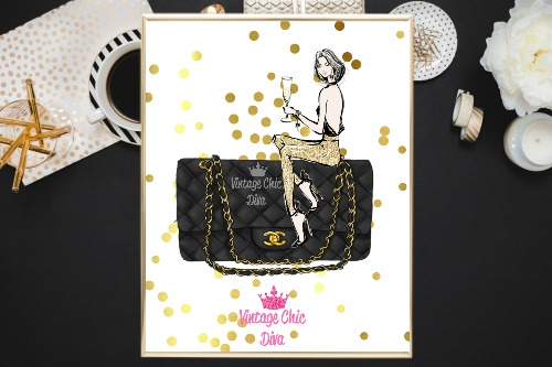 Chanel Black Purse Girl Gold Confetti White Background-