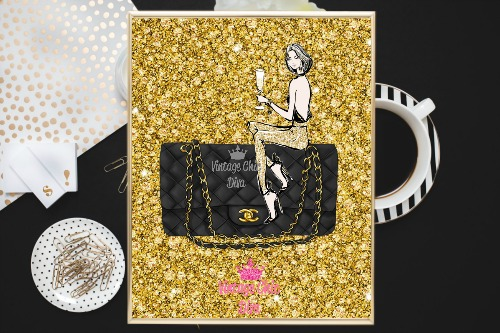 Chanel Black Purse Girl Gold Diamond Background-