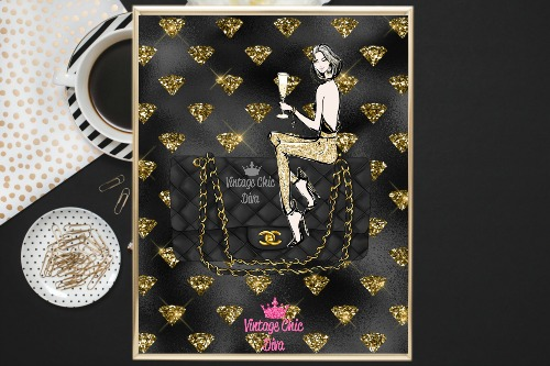 Chanel Black Purse Girl Gold Diamonds Black Background-