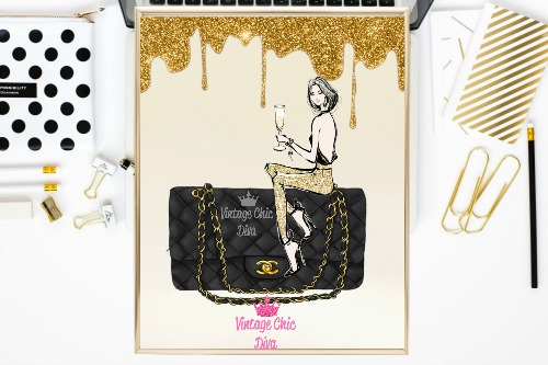 Chanel Black Purse Girl Gold Frosting Background-
