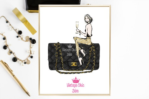 Chanel Black Purse Girl White Background-