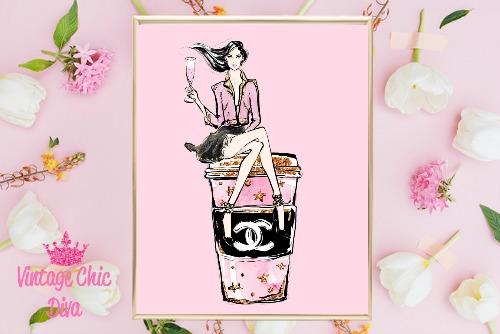 Chanel Drink Sitting Girl Pink Background-