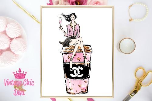 Chanel Drink Sitting Girl White Background-