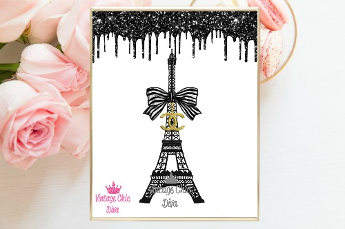Chanel Eiffel Tower Black Glitter Drip White Background-