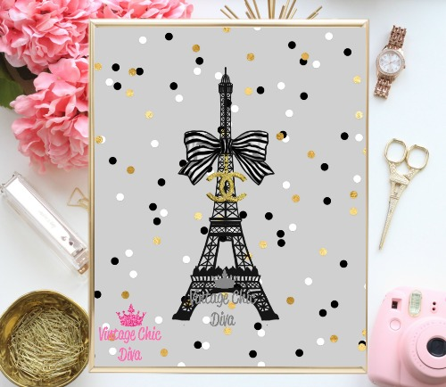 Chanel Eiffel Tower Confetti Grey Background-
