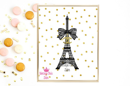 Chanel Eiffel Tower Gold Dots White Background-