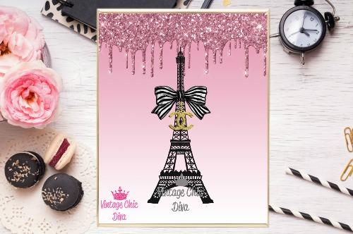 Chanel Eiffel Tower Pink Glitter Drip Background-