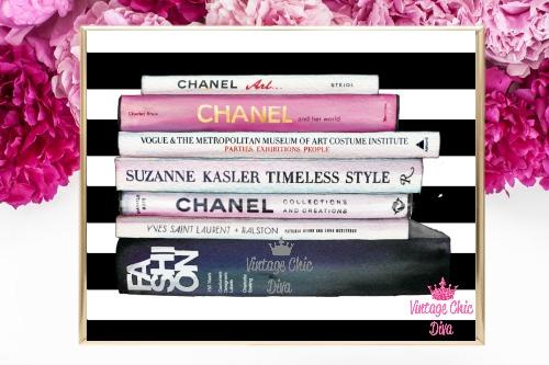 Chanel Fashion Books Black White Stripe Background-