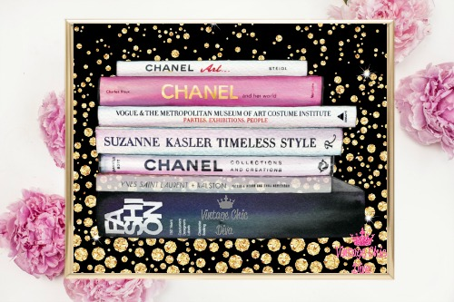 Chanel Fashion Books Gold Diamonds Black Background-