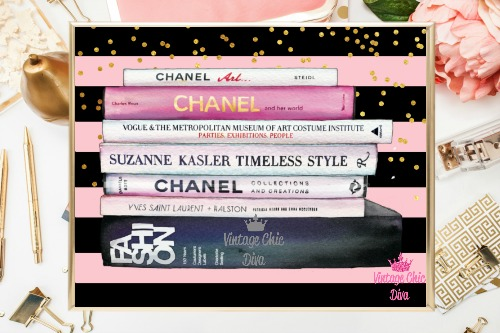 Chanel Fashion Books Pink Black Gold Dots Background-