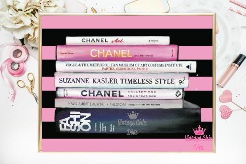 Chanel Fashion Books Pink Black Stripe Background-