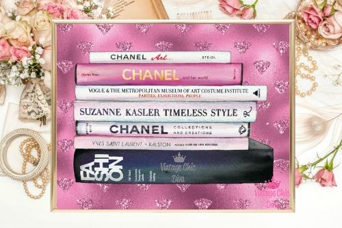 Chanel Fashion Books Pink Diamonds Background-