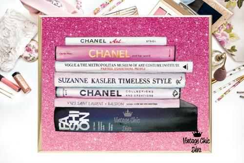 Chanel Fashion Books Pink Glitter Background-
