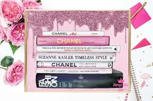 Chanel Fashion Books Pink Glitter Drip Background-
