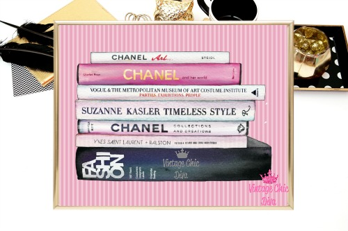 Chanel Fashion Books Pink Stripes Background-