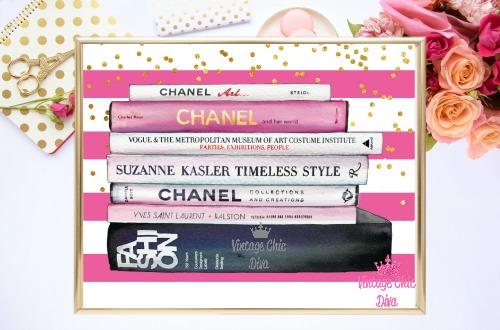 Chanel Fashion Books Pink White Stripe Background-