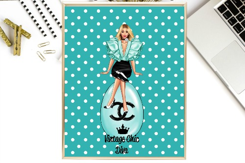 Chanel Girl11 Teal White Dots Background-