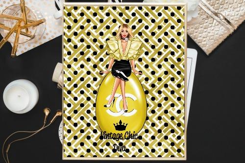 Chanel Girl3 Gold White Black Dots Background-