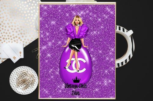 Chanel Girl7 Purple Glitter Background-