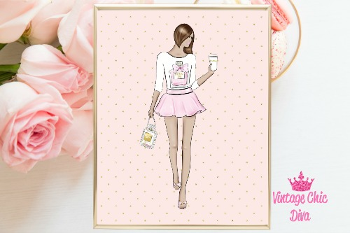 Chanel Girl Light Pink Dots Background-