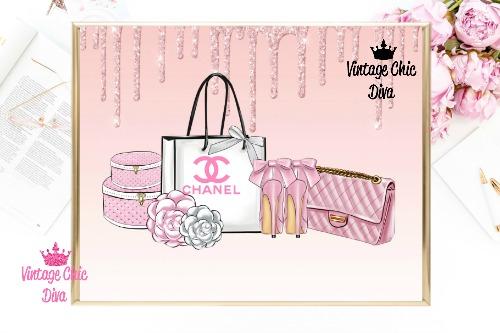 Chanel Paris Pink Set Pink Glitter Drip Background-