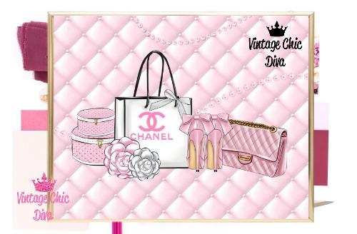 Chanel Paris Pink Set Pink Tufted Background-