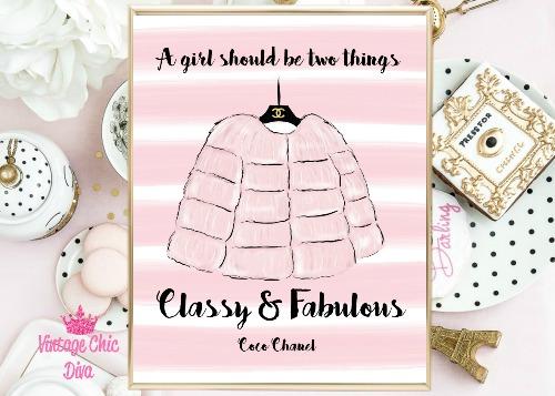 Chanel Pink Fur Pink White Stripe Background-