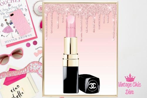 Chanel Pink Lipstick Pink Glitter Drip Background-