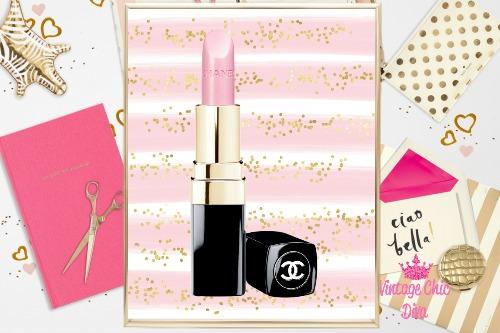 Chanel Pink Lipstick Pink Glitter Stripe Background-