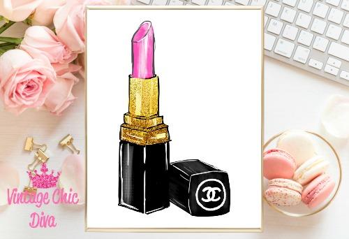 Chanel Pink Lipstick White Background-