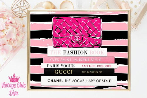 Chanel Pink Purse Books Pink Black Stripes Background-