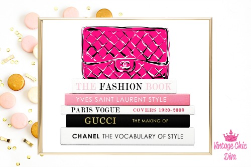 Chanel Pink Purse Books White Background-