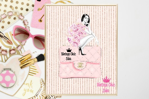 4dba7428cfb8 Chanel Pink Purse Girl Blush Glitter Stripe Background