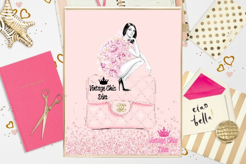 8068ed1bbb7a Chanel Pink Purse Girl Pink Glitter Background