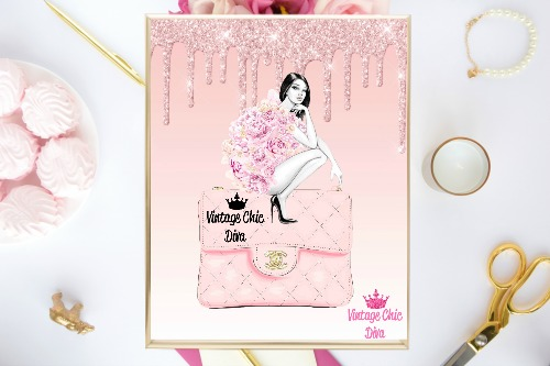 4b987a956754 Chanel Pink Purse Girl Pink Glitter Drip Background