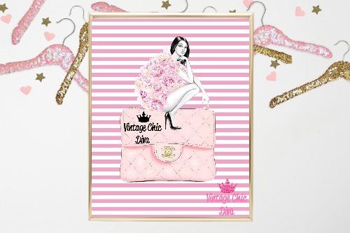 54b4010a64b1 Chanel Pink Purse Girl Pink White Stripe Background