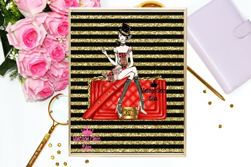 Chanel Red Purse Girl Black Gold Glitter Stripe Background-