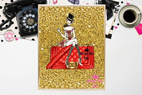 Chanel Red Purse Girl Gold Diamond Background-