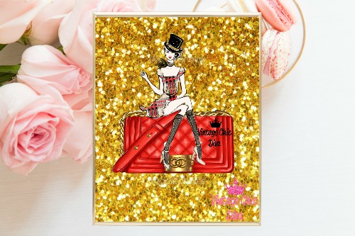 Chanel Red Purse Girl Gold Glitter Background-