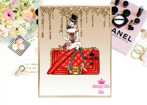 Chanel Red Purse Girl Gold Glitter Drip Background-