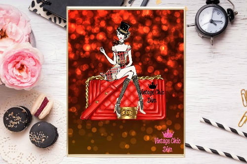 Chanel Red Purse Girl Red Bokeh Background-