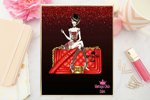 Chanel Red Purse Girl Red Glitter Black Background-