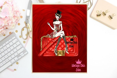 Chanel Red Purse Girl Red Swirl Background-