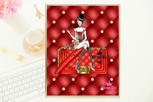 Chanel Red Purse Girl Red Tufted Background-