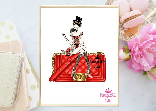 Chanel Red Purse Girl White Background-