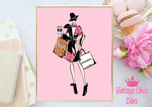 Chanel Shopping Girl Hat Bags Pink Background-