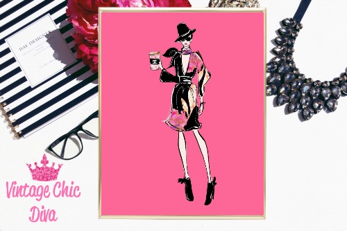 Chanel Shopping Girl Hat Pink Background-