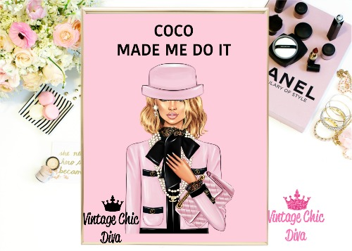 Coco Chanel Girl1 Pink Background-