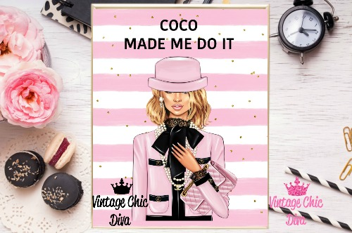 Coco Chanel Girl1 Pink White Gold Dots Background-