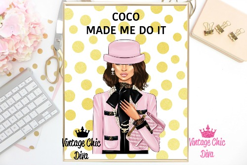 Coco Chanel Girl2 Gold White Dots Background-